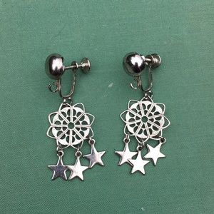 VINTAGE- silver screw in hanging earrings